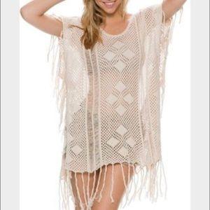 Rip Curl Beach Crochet Fringe Cover Up